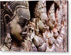 Angkor Wat Temple Wall Faces Detail Acrylic Print