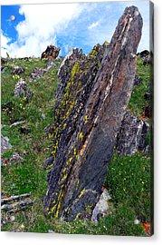 Angled Rocks With Lichen Acrylic Print