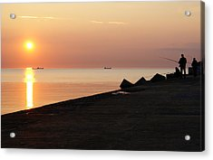 Anglers On The Pier Acrylic Print by Gynt