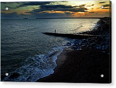 Angling From A Slipway,youghal,county Acrylic Print by Panoramic Images
