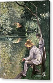 Angling Acrylic Print by Gustave Caillebotte