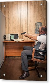 Angry Office Working Aiming Gun At Old Computer Acrylic Print by Sjharmon