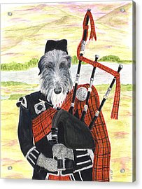 Acrylic Print featuring the painting Angus The Piper by Stephanie Grant
