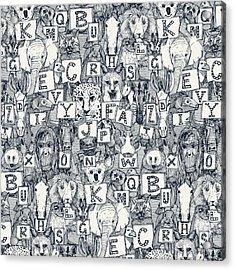 Animal Abc Indigo Ivory Acrylic Print