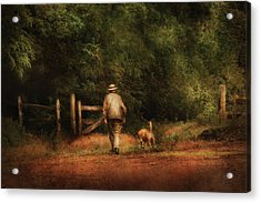 Animal - Dog - A Man And His Best Friend Acrylic Print by Mike Savad