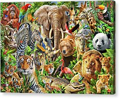 Acrylic Print featuring the drawing Animal Mix by Adiran Chesterman