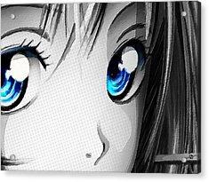 Anime Girl Eyes 2 Black And White Blue Eyes Acrylic Print
