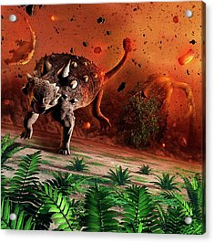 Ankylosaurs Caught In Blast Wave Acrylic Print by Mark Garlick