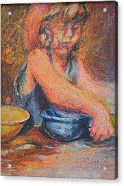 Anna And Mixing Bowls Acrylic Print by Nancy Mauerman