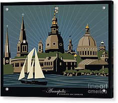 Annapolis Steeples And Cupolas Serenity With Border Acrylic Print