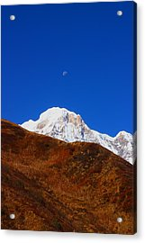 Annapurna South Moon Rise Acrylic Print by FireFlux Studios