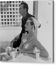 Anne Gunning Parker Sitting With A Man Acrylic Print