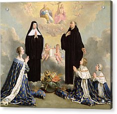 Anne Of Austria 1601-66 And Her Children At Prayer With St. Benedict And St. Scholastica, 1646 Oil Acrylic Print by Philippe de Champaigne