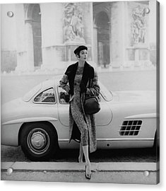 Anne St. Marie By A Mercedes-benz Car Acrylic Print by Henry Clarke