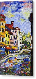 Annecy France Canal And Bistros Impressionism Knife Oil Painting Acrylic Print by Ginette Callaway