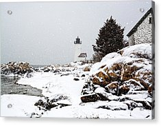 Annisquam Light-snow Storm Acrylic Print