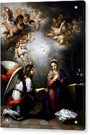 Acrylic Print featuring the digital art Annunciation by Esteban Murillo