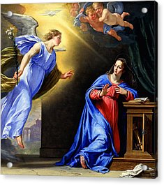 Acrylic Print featuring the painting Annunciation by Philippe de Champaigne
