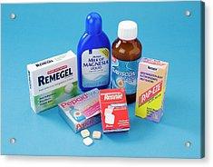 Antacid Medicines Acrylic Print by Trevor Clifford Photography