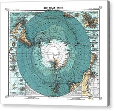 Antarctica Map Old 1912 Poster Art Drawing Acrylic Print by Paul Fearn