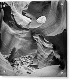 Antelope Canyon Rock Formations Bw Acrylic Print by Melanie Viola