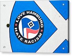 Anti-racism Sticker Acrylic Print by Tom Gowanlock