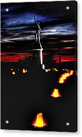 Antietam Memorial Illumination - 3rd Pennsylvania Volunteer Infantry Sunset Acrylic Print by Michael Mazaika