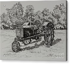 Antigue Tractor Acrylic Print by Janet Felts