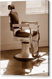 Antiquated Barber Chair In Sepia Acrylic Print