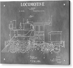 Antique 1892 Train Patent Acrylic Print by Dan Sproul
