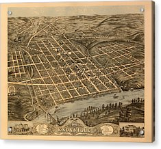 Antique Bird's-eye View Map Of Knoxville Tennessee 1871 Acrylic Print
