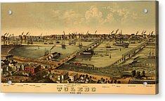 Antique Bird's-eye View Map Of Toledo Ohio 1876 Acrylic Print