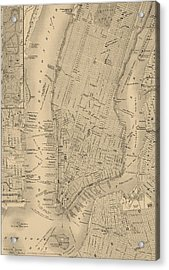 Antique Boston Map 1842 Acrylic Print by Dan Sproul