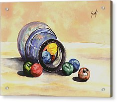 Antique Bottle With Marbles Acrylic Print by Sam Sidders