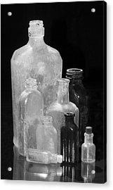 Antique Bottles 4 Black And White Acrylic Print by Phyllis Denton