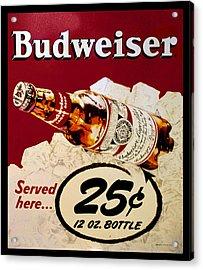 Antique Budweiser Signage Acrylic Print
