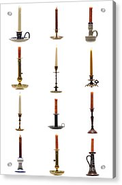 Antique Candleholders Acrylic Print by Olivier Le Queinec