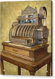 Antique Cash Register Acrylic Print by Ric Darrell