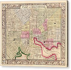 Antique City Map Of Baltimore 1864 Acrylic Print by Mountain Dreams