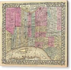 Antique City Map Of Philadelphia 1867 Acrylic Print by Mountain Dreams