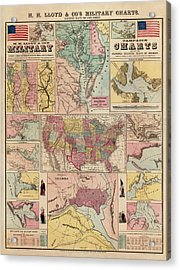 Antique Civil War Map By Egbert L. Viele - Circa 1861 Acrylic Print by Blue Monocle