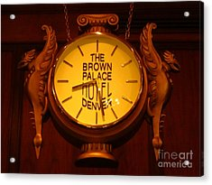 Antique Clock At The Bown Palace Hotel Acrylic Print by John Malone