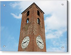 Antique Clock Tower On Blue Sky Background Acrylic Print by Kiril Stanchev