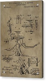 Antique Dental Chair Patent Acrylic Print by Dan Sproul