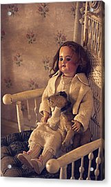 Antique Doll With A Puppy Acrylic Print by Maria Angelica Maira