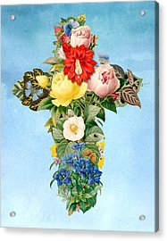 Antique Flower Cross Acrylic Print by Gary Grayson