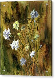 Acrylic Print featuring the painting Antique Flowers by Vic  Mastis