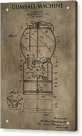 Antique Gumball Machine Patent Acrylic Print by Dan Sproul