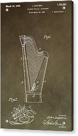Antique Harp Patent Acrylic Print by Dan Sproul
