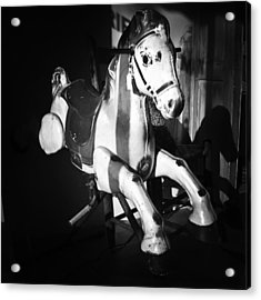 Antique Horse Bw Acrylic Print by Patrick M Lynch